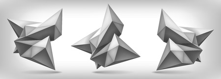 unreal: Volume geometric shapes set, 3d crystals, abstraction low polygons object, vector design forms