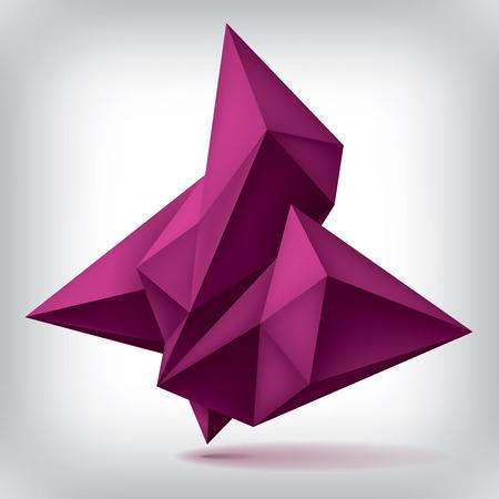 quartz: Volume geometric shape, 3d quartz abstraction low polygons object, vector design forms