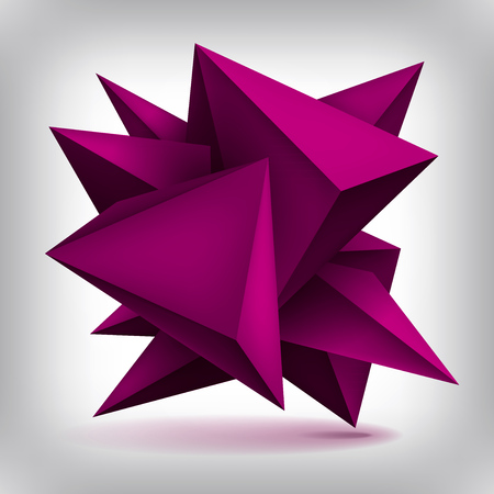 Volume geometric shape, 3d quartz crystals, abstraction low polygons object, vector design forms Illustration