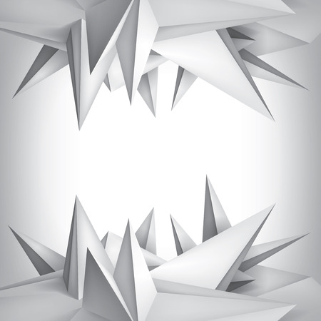 Volume geometric shape, 3d crystals surface, abstraction low polygons object, vector design form Vetores