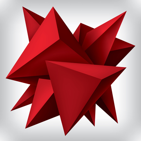 Volume geometric shape, 3d red crystals, abstraction low polygons object, vector design forms