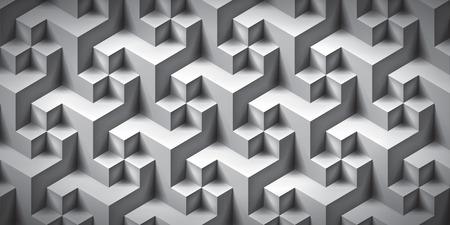 Volume texture irréelle réaliste, cubes gris, motif géométrique 3d, fond de vecteur de conception