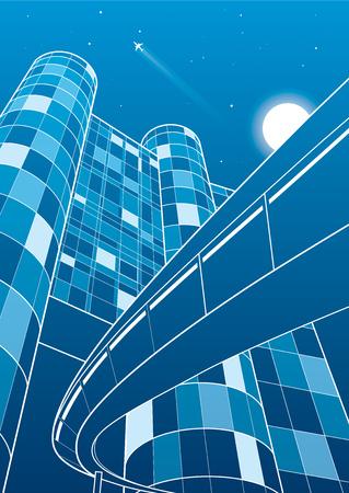 planos electricos: Edificio de negocios, viaducto, ciudad de noche, vuelo de avión, arte vectorial de diseño Vectores
