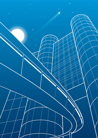 Business building, overpass, night city, airplane flying, vector design art