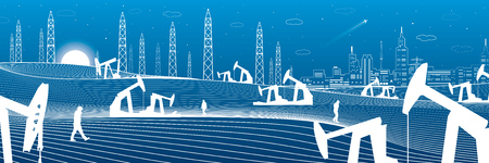 Oil rocking and towers in the desert, petroleum industry panoramic, night city on the horizon, vector design art
