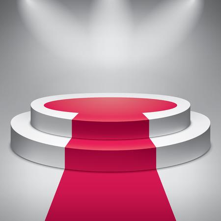 Empty round podium. Red carpet. Award ceremony. 3d vector design object Illustration