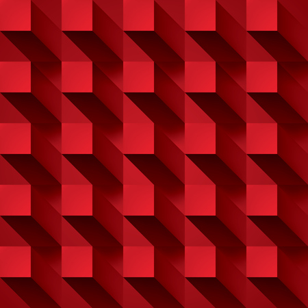 pillar box: Volume realistic vector abstraction, cubes with shadow, red geometric, design wallpaper