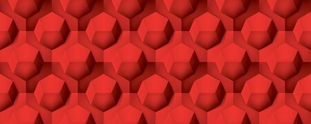 Volume realistic seamless texture, octahedron, red 3d geometric pattern, design vector background Illustration