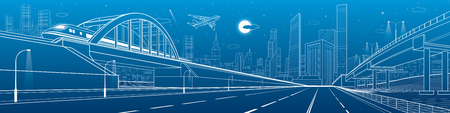 Train traveling along the railway bridge, empty highway, road overpass. Urban infrastructure panorama, modern city on background, industrial architecture, towers and skyscrapers. Vector design art