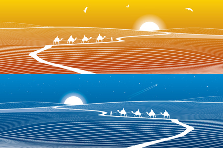sand dunes: Road in the desert, winding path, caravan passes, day and night landscape, white lines on blue and orange background, vector design art Illustration