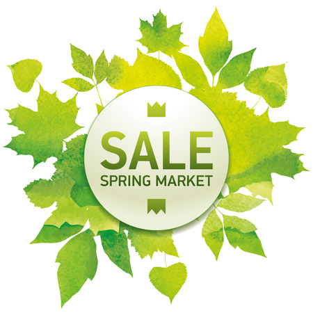Spring market, seasons sale, bouquet of leaves, handmade painted, abstract vector design art