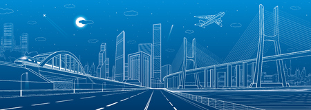 Infrastructure illustration. Large cable-stayed bridge. Train move on the bridge. Airplane fly. Night modern city on background, towers and skyscrapers, vector design art