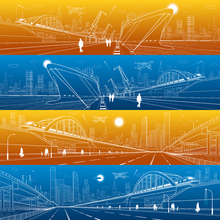 Transportation and industrial panorama set. Cargo ship loading, boats on water, sea harbor. Train move on railway bridge. Airplane fly. People walking. Infrastructure illustration. Vector design art