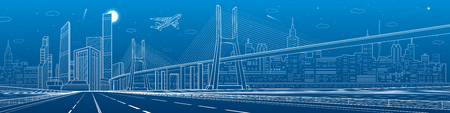 Infrastructure panorama. Large cable-stayed bridge. Airplane fly. Empty highway. Night modern city on background, towers and skyscrapers, urban scene, vector design art Ilustração