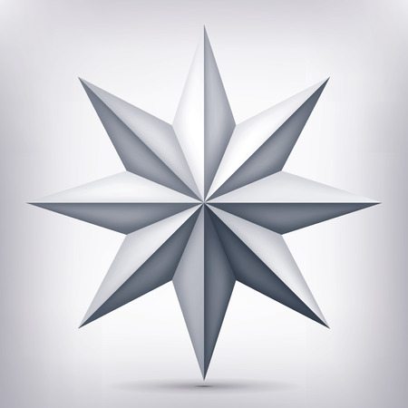 Volume eight-pointed twisted star, 3d object, geometry shape, mesh version, abstract vector