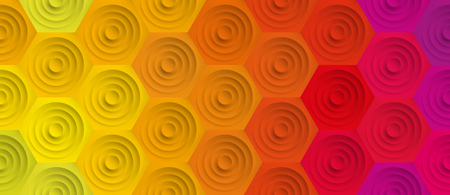 rounds: Volume realistic embossing texture, circles in honeycomb, colorful background, 3d geometric seamless pattern, design vector wallpaper