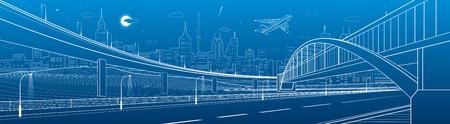 Ponte pedonale attraverso l'autostrada. Cavalcavia stradale Infrastruttura urbana, città moderna su fondo, architettura industriale. Illustrazione di linee bianche, scena di notte, arte di disegno vettoriale
