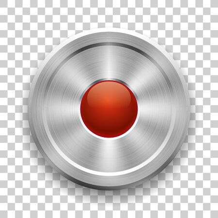 Metal button on a transparent background, glossy red ball in the center, vector Illustration