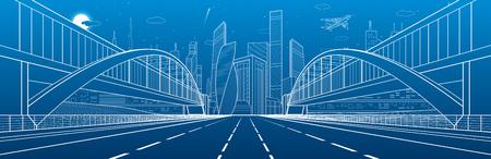 Due ponti pedonali sull'autostrada. Panorama di infrastrutture urbane, città moderna su sfondo, architettura industriale. Mosca dell'aeroplano. Illustrazione di linee bianche, scena di notte, arte di disegno vettoriale Archivio Fotografico - 78284015