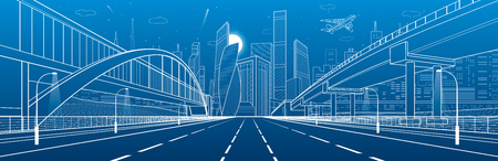 高速道路を歩行者専用橋。道路の高架。都市インフラ、背景に近代的な都市。