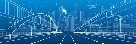 Ponte pedonale attraverso l'autostrada. Cavalcavia stradale Infrastruttura urbana, città moderna sullo sfondo. Archivio Fotografico - 78422794