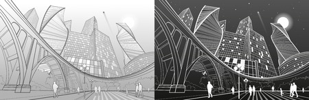 business woman: Big bridge, night modern city on background, people walking to square, industrial and infrastructure illustration, white and gray lines landscape, urban scene, vector design art Illustration