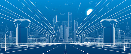 Road overpass. Big highway. Transportation bridge. Urban infrastructure, modern city on background, industrial architecture. Towers and skyscrapers. White lines illustration, vector design art Illustration