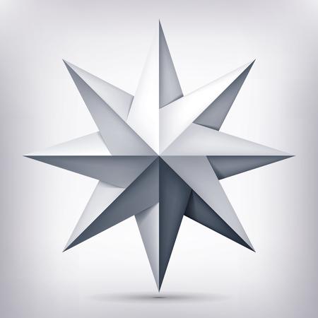 Volumen De Cinco Puntas De Estrella Gris Sobre Fondo Transparente