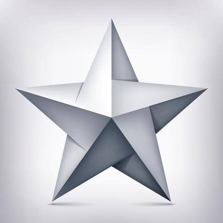 Volumen de cinco puntas estrella retorcida, objeto 3d, forma de geometría, versión de malla, vector abstracto