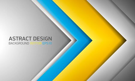go inside: Abstract volume background. Yellow, blue, and gray stripes with shadows.