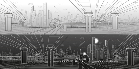 Infrastructure panorama. Road overpass. Transportation bridge. Train rides. Towers and skyscrapers. Urban scene, modern city on background, industrial architecture. White lines, vector design art Çizim