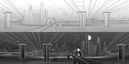 Panorama delle infrastrutture Cavalcavia stradale Ponte di trasporto Viaggi in treno Torri e grattacieli. Scena urbana, città moderna su priorità bassa, architettura industriale. Linee bianche, arte del design vettoriale Archivio Fotografico - 79342310