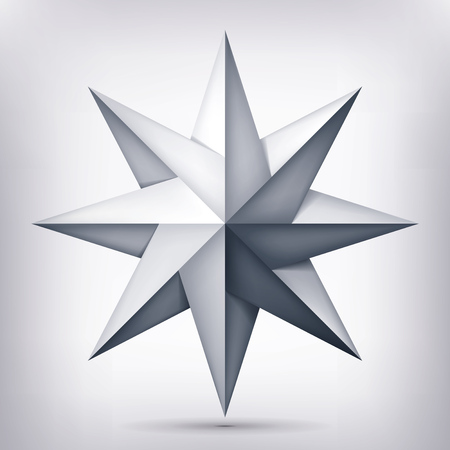 Volume eight-pointed twisted star, 3d object, geometry shape, mesh version, abstract vector.