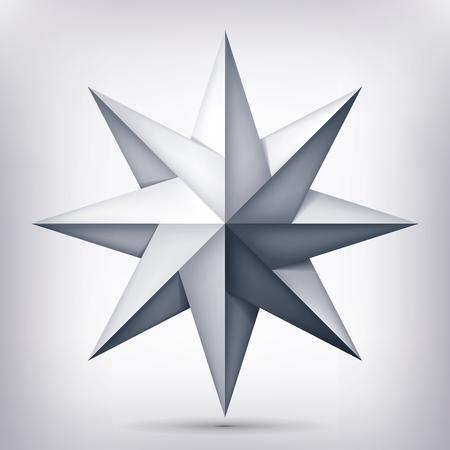 Volume acht-spits verdraaide ster, 3d voorwerp, meetkundevorm, netwerkversie, abstracte vector.