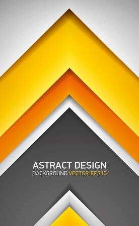 go inside: Abstract volume background. Yellow, orange and gray stripes, cover for project presentation, vector design
