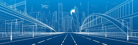 高速道路を歩行者専用橋。道路の高架。都市インフラ、産業建築の背景に近代的な都市。白い線図、夜のシーン、ベクトル デザイン アート  イラスト・ベクター素材