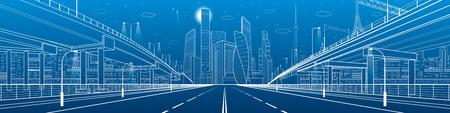 Night highway. Two transportation overpass. Urban infrastructure, modern city on background, industrial architecture. White lines illustration, night scene, vector design art Çizim