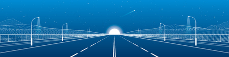 Night empty highway. Big road. Mounrains on background. White lines panorama, night scene, vector design art Illustration