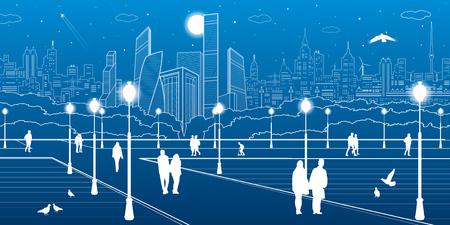 city lights: City scene, people walk on the square, citys skyline on background, street life, night town, vector design art