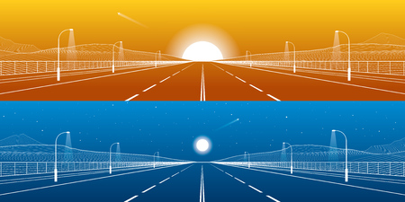 Day and night. Big road. Mounrains on background. White lines on blue and orange background, vector design art Illustration