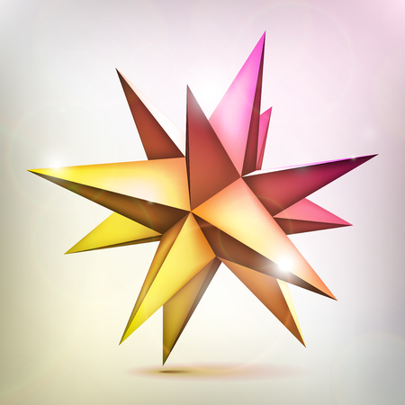 Multicolored sparkling star. Volume polyhedron. 3d object, geometry shape, mesh version, abstract vector element