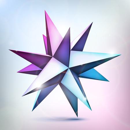 Multicolor brillante estrella. Poliedro volumétrico. 3d objeto, forma de geometría, versión de malla, elemento de vector abstracto