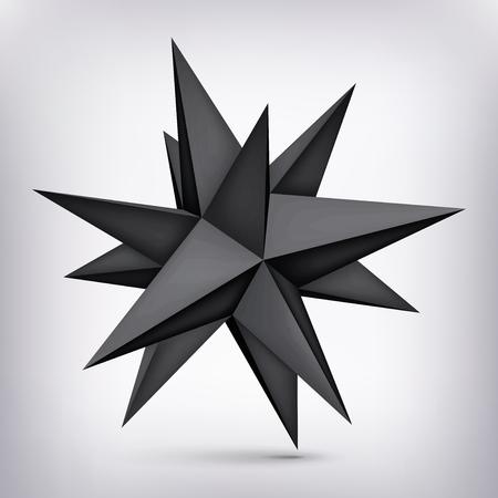 ボリューム多面体黒い星、3 d オブジェクト、ジオメトリ形状、メッシュ バージョン、暗い折り紙の結晶、抽象的なベクトルの要素  イラスト・ベクター素材