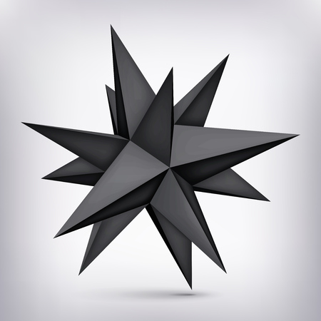 Volume polyhedron black star, 3d object, geometry shape, mesh version, dark origami crystal, abstract vector element