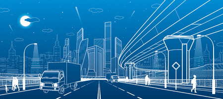 city lights: Transportation bridge. Wide highway. Road overpass. Urban infrastructure, modern city on background, industrial architecture. People walking. Truck rides. White lines, night scene, vector design art