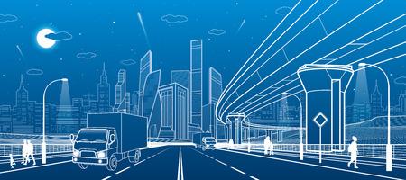 Transportation bridge. Wide highway. Road overpass. Urban infrastructure, modern city on background, industrial architecture. People walking. Truck rides. White lines, night scene, vector design art