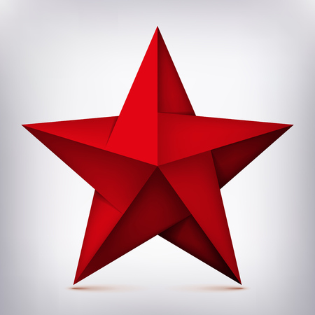 Volume five-pointed twisted red star, 3d object, geometry shape, mesh version, abstract vector 일러스트