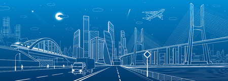 Cable-stayed bridge. Wide highway. Road overpass. Urban infrastructure, modern city on background, industrial architecture. People walking. Truck rides. White lines, night scene, vector design art