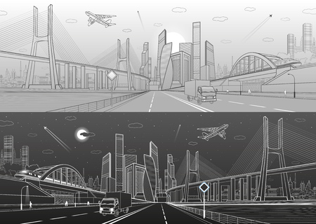 Big bridge. Wide highway. Road overpass. Town infrastructure, modern city on background, industrial architecture. People walking. Truck rides. White and black lines, urban scene, vector design art Ilustrace
