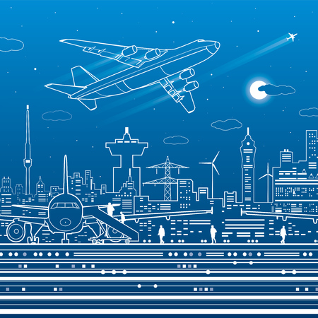Aviation infrastructure. Airport scene, airplane fly, people get on the plane. Night city on background, vector design art Ilustrace